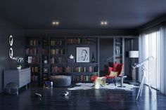 Dark blue luxurious home library