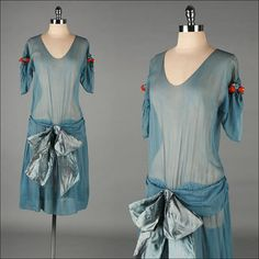 Lovely 1920s flapper silk dress, (appears to be shown on mannequin backwards--seems like bow should be in back).