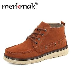 48ecab1f0aae16 Merkmak Brand 2017 Autumn Winter Men Boots Cow Suede Leather Shoes For Men  Fashion Footwear Ankle Boots Casual High Mens Shoes
