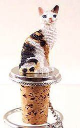"""Cornish Rex Tortoise Cat White Wine Bottle Stopper by Conversation Concepts. $9.38. Approx. Size: 2 1/2"""" tall. Pewter base cork bottle stopper, designed to fit any standard wine bottle. Your favorite cat will be the toast of the town on these pewter-base, cork bottle stoppers, designed to fit any standard bottle.   Each comes with it's own velvet drawstring pouch - ideal for gift giving! Size: Appx. 3 to 3 1/2"""" tall Weight: Appx. 3 oz."""""""