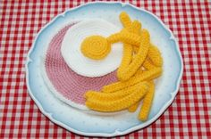 Knit & Crochet Pattern for Ham, Fried Egg & Chips - Toy Food