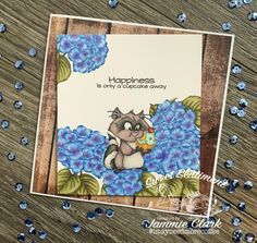 This sweet little Raccoon from CC Designs and these amazingly beautiful flowers from Ink Road stamps are center stage in the November Sweet Sentiment Coloring Class! Colored with Copic Markers by Jammie Clark Center Stage, Copic Markers, Color Inspiration, Beautiful Flowers, Stamps, November, Coloring, Ink, Sweet