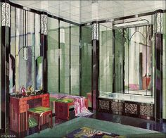 an illustration of an art deco vitrolite bathroom published in a 1929 issue of american home when the style was still rare in most middle class homes