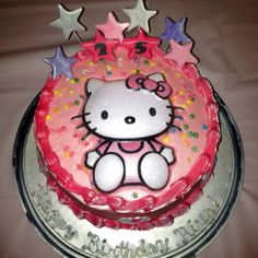 Hello Kitty cake with edible silver luster dust!