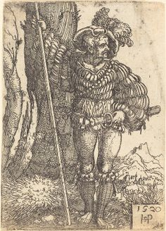 Sebald Beham  Foot Soldier Standing by a Tree, 1520  Gift of Dr. Paul J. Sachs  1941.2.4  Open Access