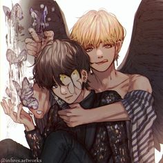 It's Fanart of VkookK or as Taekook, anyway if you are a JiKooK shiper. This is only for our VKooK shiper's out there in the WORLD! Vkook Fanart, Taehyung Fanart, Jimin Fanart, Bts Taehyung, Taekook, Yoonmin, Vmin, V Wings, Bts Anime