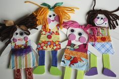 Homemade paper dolls - happy hooligans - crafting with fabric scraps