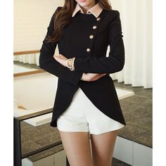 Ladylike Style Long Sleeves Irregular Solid Color Single-Breasted Women's Coat