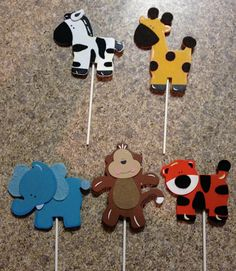 Jungle Animal Wooden Sticks by BellasDiaperBoutique on Etsy, $12.00