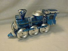 train made out of aluminum cans