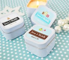 A Winter Holiday Personalized Square Candle Tins Winter Wedding Receptions, Winter Wedding Favors, Christmas Party Favors, Candle Wedding Favors, Best Wedding Favors, Candle Favors, Bridal Shower Favors, Reception Ideas, Wedding Ceremony