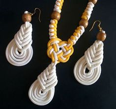 beachwear necklace & earrings made using paracord