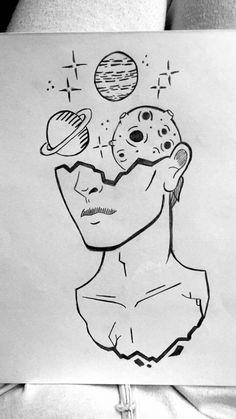 Trippy Drawings, Pencil Art Drawings, Cool Art Drawings, Art Drawings Sketches, Easy Drawings, Tumblr Tattoo, Doodle Art, Art Inspo, Watercolor Art
