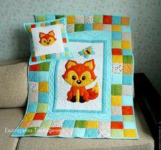 """Купить Лоскутное одеяло """"Мой лисёнок"""". Пэчворк покрывало - Аппликация, лиса, голубой, оранжевый"""