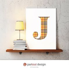 letter J baby nursery art monogram logo by partoutdesign on Etsy