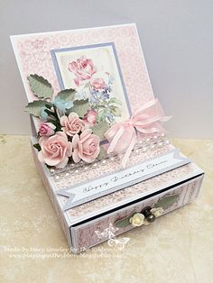 Playing With Ribbon: Easel Card with Drawer and tutorial Fancy Fold Cards, Folded Cards, Card Making Tutorials, Making Ideas, Box Cards Tutorial, Origami Gift Box, Pop Up Box Cards, Anna Griffin Cards, Shaped Cards