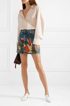 Gucci | Appliquéd denim mini skirt | NET-A-PORTER.COM