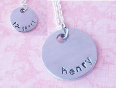 Two Sided Handstamped Name and Date Necklace @simplysweethome