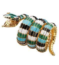 Bracelet Serpenti de Bulgari vintage en or et émail