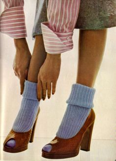 Mary Quant sock and Manolo Blahnik for Zapata shoes photographed by David Bailey on Vogue UK (1973)