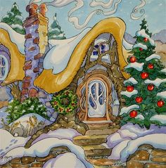 """""""A Cozy Cottage Christmas Storybook Cottage Series"""" - Original Fine Art for Sale - © Alida Akers"""