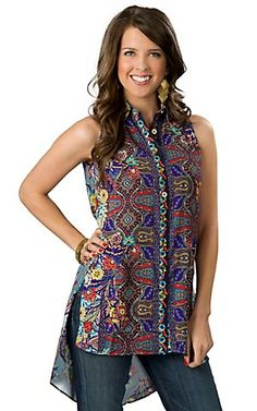 Hot & Delicious® Women's Blue with Multi Floral Paisley Print Sleeveless Hi-Lo Button Down Tunic Fashion Top | Cavender's Boot City