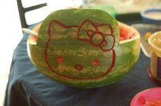 Not a tutorial but a cute Hello Kitty watermelon carving
