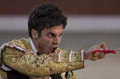 Ready to make the kill: Spanish bullfighter Lorenzo Sanchez points his sword forwards in anticipation during Sunday's event