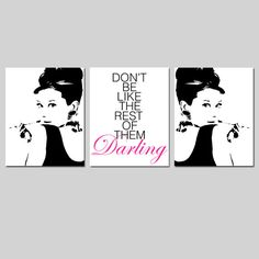 Audrey Hepburn Art  Set of Three 8x10 Prints  Audrey by Tessyla, $55.00