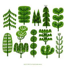 Toru Fukuda tree green Illustration,Illustration inspiration,illustrations,paintings and posters, Abstract Illustration, Plant Illustration, Deco Nature, Art Plastique, Tree Art, Print Patterns, Design Patterns, Art Projects, Artsy