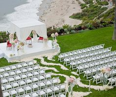 The ceremony was set against a breathtaking view of the Pacific Ocean.