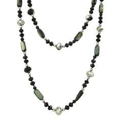 Bella Rose Fashion Black Crystal Necklace - Extra Long