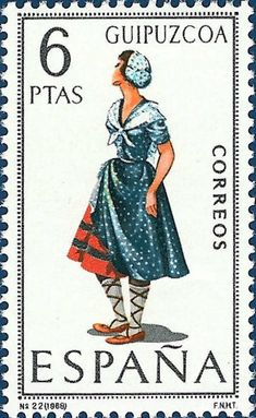 After the costume stamps of Aragon, we move now furher to the west to Navarre and Basque Country . Both Navarre and the Basque Country are. Basque Country, Stamp Collecting, Traditional Dresses, Postage Stamps, Spain, Aurora Sleeping Beauty, Poster, Snoopy, Culture