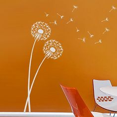 dandelion wall stencil - might work better on textured walls.  Wall works might not stick too well but stencils bleed.