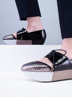 Ivan Black & Silver Leather Flatform Shoes