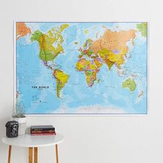 Political Map of the World (Front Sheet Lamination) - home, wall hanging, home decor, living room, Cool World Map, World Map Poster, Map Posters, Map Maker, Hanging Bar, Wall Maps, Us Map, Wooden Bar, Wall Spaces