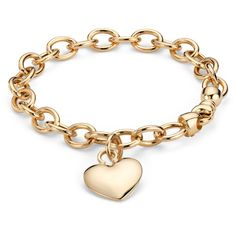 Blue Nile Puffed Heart Tag Bracelet in 14k Yellow Gold found on Polyvore