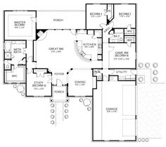 Mediterranean Style House Plan - 5 Beds 2.5 Baths 2750 Sq/Ft Plan #80-172 Floor…