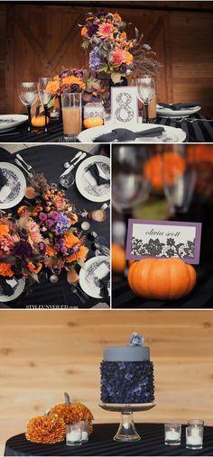 i love the pumpkin in the bottom halloween purple and orange wedding details - Halloween Wedding Decor