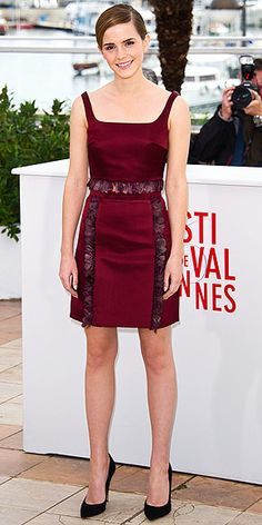 Her movie may be called The Bling Ring, but Emma steals the spotlight without the help of diamonds, thanks to her feather-trimmed burgundy Christopher Kane separates, worn to a photo call for the film.