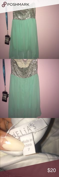 Hi low dress strapless dress, sequin top, sheer silky material, worn only ones, washed, zipper in the back delias Dresses High Low