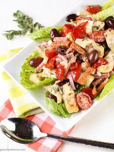 Antipasto Salad with Red Wine Vinaigrette ~ http://www.garnishwithlemon.com