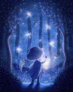 Dragonfly catcher    #artitupwithfriends #art #arte #instaart #artoftheday #artistsoninstagram #digitalart #digitalpainting #illustration #ilustracion #monochrome #monochromatic #blue #dragonfly #catcher #night #forest #lamp #glow #light #lights #magic #boy #cloak #trees #nature #childrensillustration  #art_daily #best_of_illustrations