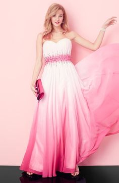 Blush with this pink & ombre prom dress.