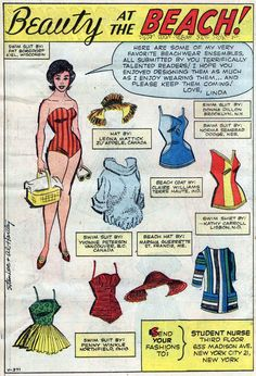 BEAUTY At The BEACH Paper doll pages from Linda Carter, Student Nurse #2 (Marvel, November 1961), script by Stan Lee, pencils and inks by Al Hartley  'It's so nice outside, Doctor, can we have nursing on the beach today?'
