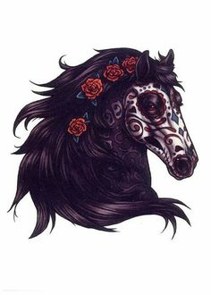 Day of the dead horse, tattoo idea. Whale Tattoos, Head Tattoos, Body Art Tattoos, Horse Tattoos, Tatoos, Horse Head, Horse Art, Horse Horse, Horse Drawings