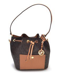 Look at this #zulilyfind! Brown & Peanut Greenwich Leather Bucket Bag…