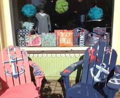 painted Adirondack chairs with anchors