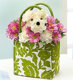 Give a-DOG-able in a Tote to make someone's day! #flowers #dogs #white #pink #toocute