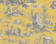 "*love this* Coutances wallpaper in primerose yellow by Pierre Frey -- ""l'abreuvoir"" (drinking trough) toile de jouy designed by Jean Batiste Huet and printed in 1792 at the Oberkampf de Jouy factory in Josas"